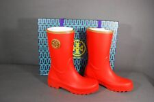 New Tory Burch Maureen Rainboots Wedge Red Tan Rubber Leather 7 8 9 NIB