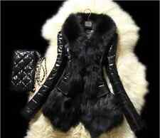 New Slim Women Winter Faux fox fur& sheep skin Coat Jacket Vest Parka Overcoat