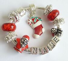 CHILDRENS/GIRLS CHARM BRACELET ANY NAME CHRISTMAS STOCKING SNOWMAN CAROL SINGER