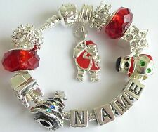 PERSONALISED CHILDRENS CHRISTMAS CHARM BRACELET ANY NAME FATHER CHRISTMAS  GIFT