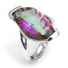 12ct Genuine Fire Rainbow Topaz Ring Solid 925 Sterling Silver Sz. 6 7 8 9