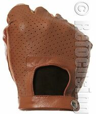 MEN'S TAN LEATHER SUEDE FINGERLESS DRIVING GLOVES
