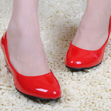 Hot Lovely Women Wedges Pointed Toe Leather Comfortable Work Pumps Shoes CA JG