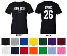 Custom Choose Text & Number Personalized Women's Baseball T-shirt, ARCHED TEXT