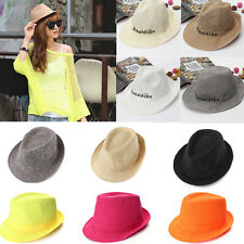 New Lady Men Cowboy Summer Beach Sun Jazz Straw Wide Brim Cap Hat Fedora Trilby