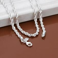 Hot  Lovely 925 Sterling silver  Wrest Rope Chain 2mm/4mm Necklace 16-24 inch
