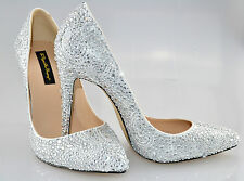 SALE!! White Leather Bridal Wedding Crystal High heel court using Swarovski