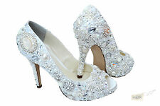 SALE!! Ivory Bridal vintage Crystal Peeptoe High Heel Platform using Swarovski
