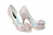 SALE!!! Pink Nude Bridal Wedding Crystal Peeptoe corsage court using Swarovski