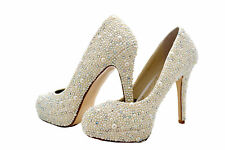 SALE Ivory Bridal Wedding Crystal Pearl High Heel Platform court using Swarovski