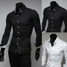 Mens Slim Fit Tee Shirts Dress Shirts Fashion Casual Shirts Long sleeve Shirts