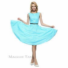 Maggie Tang 50s VTG Hepburn Rockabilly Polka Dots Pinup Party Swing Dress R-533