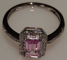 9ct White Gold created Pink Sapphire and Diamond Ring. Emerald Cut