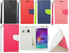 Samsung Galaxy Note 4 Folio Case Pouch Wallet W/Card Slot Phone Cover Hand Strap