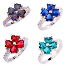 Fashion Rainbow Green Topaz Multi-Color Gems Silver Jewelry Ring Size 7 8 9 10