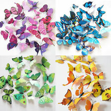 12Pcs 3D Butterfly Wall Decals Removable Sticker Kids Art Nursery Decor Megnets