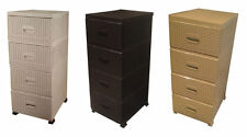 Rattan Plastic 4 Draw Chest Of Drawers Storage Tower Organiser Draws