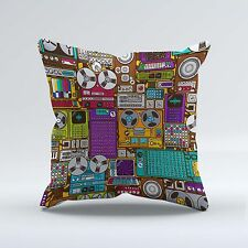 SUEDE STYLE 18x18 Inch FILLED THROW CUSHION - Retro Vintage Music Player