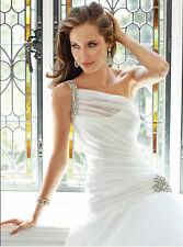 2015 One Shoulder Pleated Wedding Dress Bridal Gown Stock Size  6 8 10 12 14 16