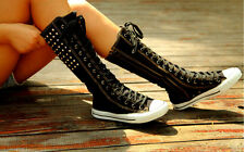 Womens Lace Up Spike Knee High Top Sneaker Athletic Boots Shoes Plus Size 10.5