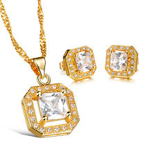 Charm Women 18k Gold Plated Clear Cubic zircon Earings Necklace Jewelry Set 623
