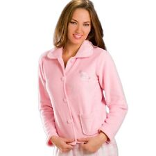 Camille  Womens Soft Warm Button Up Fleece Bed Jacket Pink