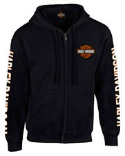 Harley-Davidson Men's Hooded Sweatshirt, Bar & Shield Zip Black Hoodie 30299142