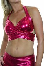 NEW (4044-6) Womens Sexy Wet Look Mettalic Wrap Round Bustier Top Hot Pink 6-14