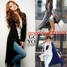 Women Long Sleeve Cardigan Sweater Knitwear Casual Coat Long Dress Wear Lady B