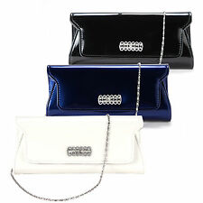 Crystal Embellish Patent PU Leather Clutch Evening Bag Mini Shoulder Purse
