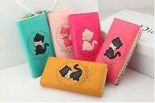 Korean Women Cat Bow Long Leather Wallet Purse Clutch Handbag Free Shipping