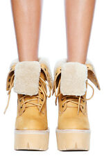 JEFFREY CAMPBELL IN CHARGE HBIC PLATFORM HIGH HEEL LACE UP TIMBERLAND SHEARLING