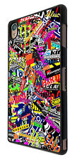 Sony Xperia Z3/ Z2 Compact/ Z3 Compact Mini StickerBomb Cars Funky Case Cover