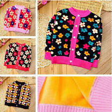 children autumn winter Cartoon flowers Double-sided warm cardigans sweater 3Y-6Y