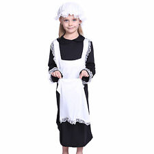 GIRLS POOR VICTORIAN MILLIE MAID FANCY DRESS KIDS COSTUME WITH MOB HAT