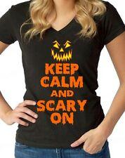 Keep Calm and Scary On halloween WOMAN V-NECK funny pumpkin face costume tee