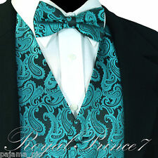 GREEN XS to 6XL Paisley Tuxedo Suit Dress Vest Waistcoat & Bow tie Wedding Prom