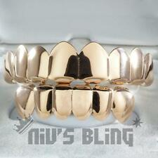 18K Rose Gold Plated GRILLZ 8 Tooth Top and Bottom STAINLESS STEEL Hip Hop Grill