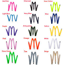 New Mens Womens Clip-on Suspenders Elastic Y-Shape Adjustable Braces Solids Gift