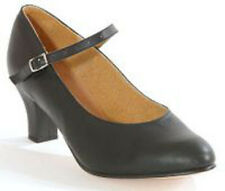 NEW Leather Character Dance Shoes Black Low Heel