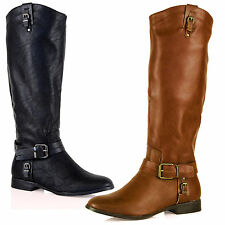 WOMENS BOOTS LADIES KNEE HIGH LOW HEEL FLATS BUCKLE PULL WINTER SIZE RIDING D8Y