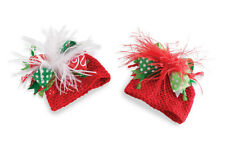 Mud Pie Holiday Christmas Baby Girl Crochet Ostrich Hat-Red or White Feathers