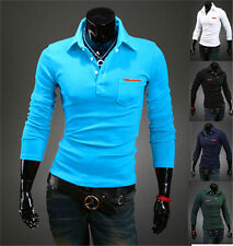 Hot New Slim Fitted Stylish Men's Polo Lapel Long Sleeve Solid Casual T-shirts