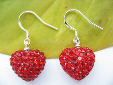 925 Sterling Silver Stampd Heart Shamballa Drop Earrings Jewellery Gift SHAME001