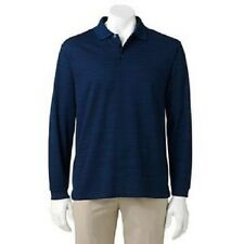 Haggar Work-To-Weekend Men's Blue Easy-Care L/S Polo Shirt NWT $46 L XL XXL