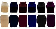 New Ladies Womans Stretch Bodycon Velvet Pencil Mini Party Skirt Size 8-14