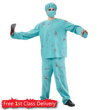 Mens Surgeon Fancy Dress Outfit Blood Zombie Doctor Adult Costume Halloween