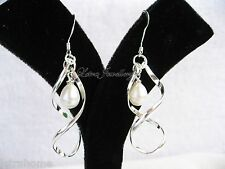 925 Stamped Silver 8mm Real Cultured Freshwater Pearl Helix Drop Earrings Gift