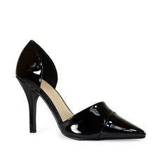 Womens Black Patent Pointy Toe Fashion D'Orsay Style Heels Delicious Tamika