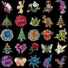 Xmas chic Unisex colorful mixed Brooch Pin Crystal Rinestone for Christmas New